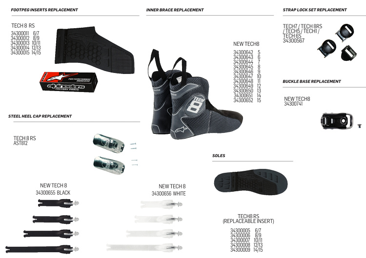 boot tech8rs alpinestars replacement parts
