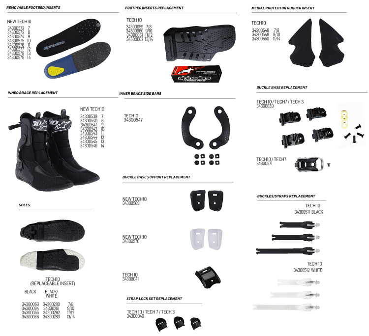 boot tech10 alpinestars replacement parts