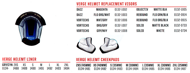 replacement parts helmet verge-sit